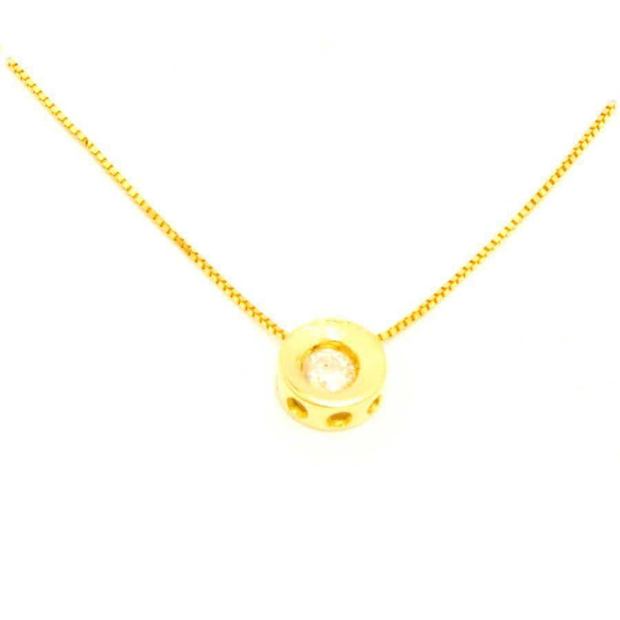 d6483c3886ff6 Colar Ponto de Luz Redondo 10 Pontos em Ouro 18 Kilates - 21173